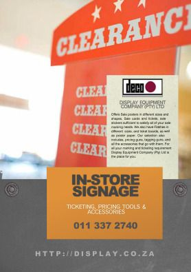 Display equipment company (Pty) Ltd offers Sale posters in different sizes and shapes, Sale cards and tickets, sale stickers sufficient to satisfy | 36036521