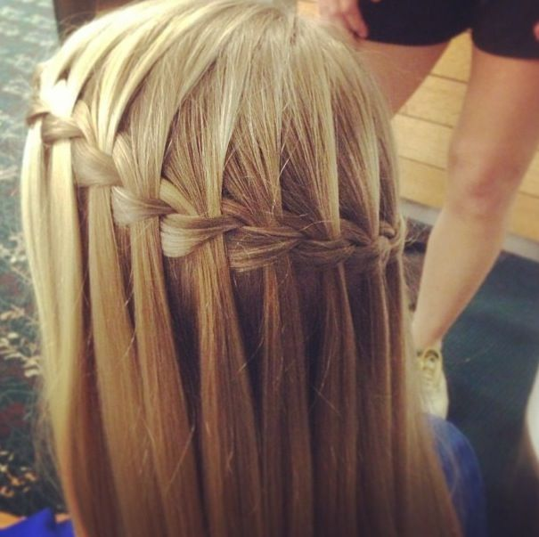 18 Creative And Unique Wedding Hairstyles For Long Hair: Waterfall Braid With Straight Blonde Hair