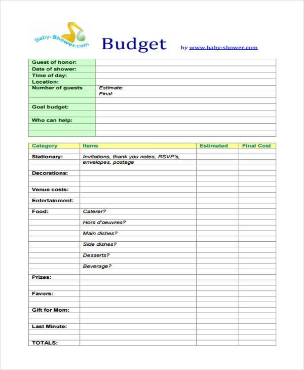 Baby Budget Templates 9 Free Printable Xlsx Word Pdf Formats Budget Template Baby On A Budget Budget Template Free
