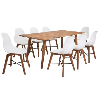 White Wooden Dining Set Kitchen Modern Rectangular Table Wood 8 Chairs Brown