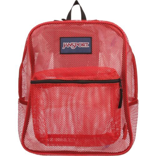 Keep your essentials organized within the JanSport® Mesh Pack, which is made of durable polyester mesh and features a large main compartment, a front utility pocket and an internal hanging pocket to provide ample room for storing your gear. The straight, padded shoulder straps and the web haul loop offer comfortable carrying.