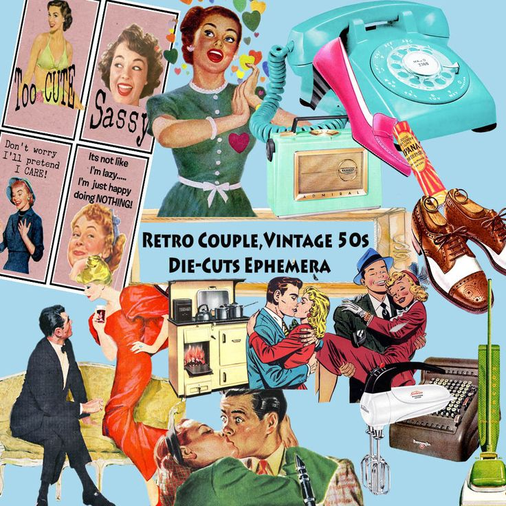 Retro Couple,Vintage Die-Cuts Stickers Ephemera Paper Scrapbook Card Decoupage