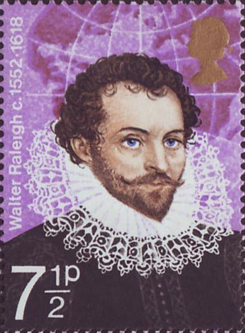 England Postage = British Explorers 7.5p Stamp (1973) Sir Walter Raleigh