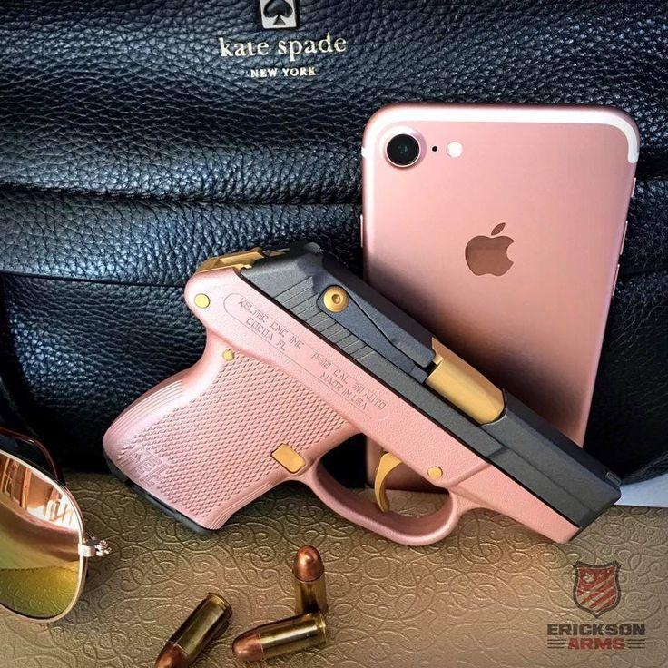 Kel-Tec p32 in custom Cerakote Rose Gold. Tungsten slide and mag with Gold barrel, trigger and pins. #RoseGold #cerakote #keltec #pinkguns #pink #gwg #girlygun #guns #ericksonarms #concealcarry #keltecp32 #girlswithguns #2A