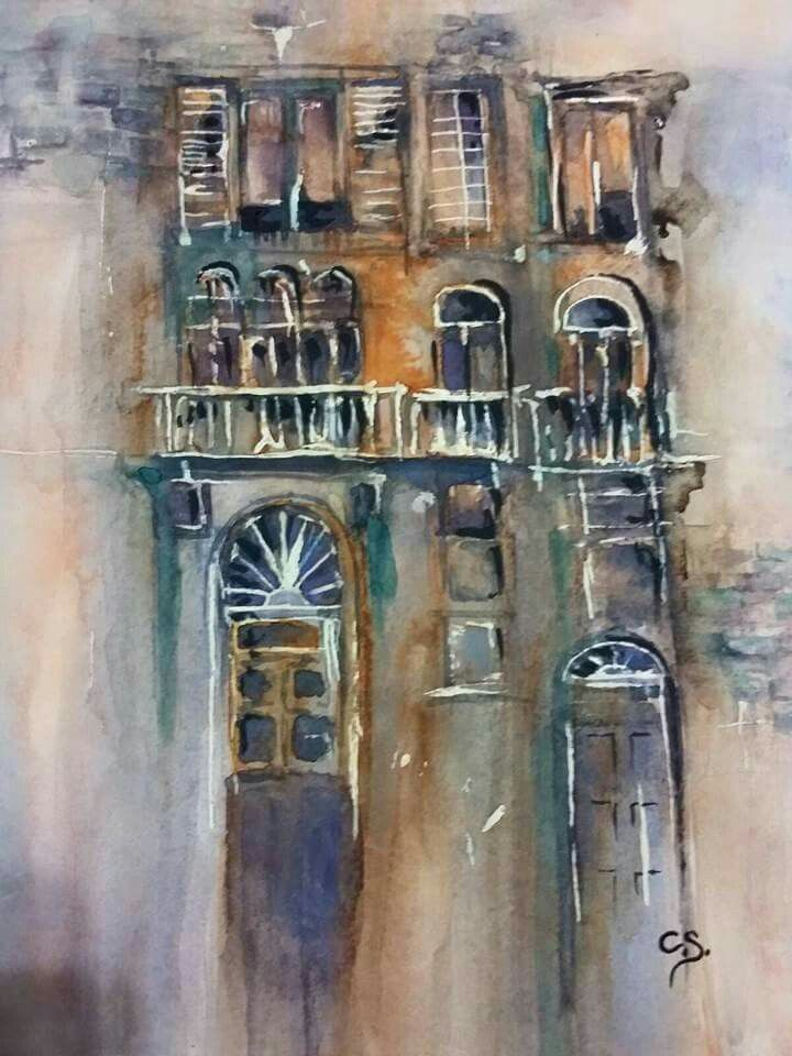 Building study water colour by Cavell Steenkamp