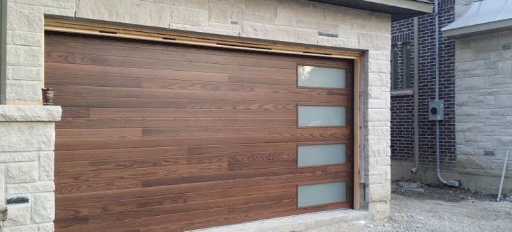 Modern Garage Door- Fiberglass  Wood Grain Modern Door with 4 Frosted Lite installed in Thornhill