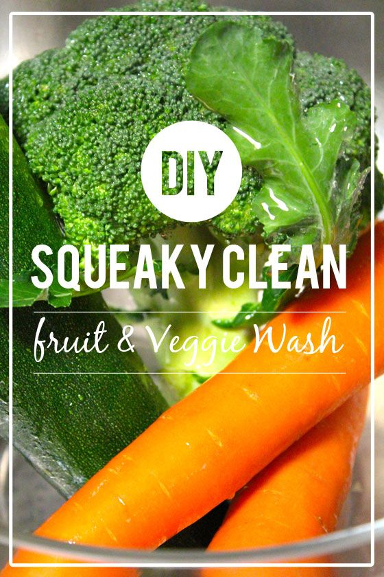 Make your own fruit and veggie wash from vinegar and water.