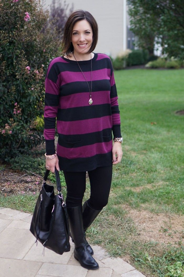 This tunic-and-leggings outfit is great for a casual dinner out with the family or for a day of running errands. Remember, ladies, LEGGINGS ARE NOT PANTS. I love that the striped tunic isn't clingy, but it isn't voluminous either. Click through for shopping links and more winter outfit ideas for women over 40.