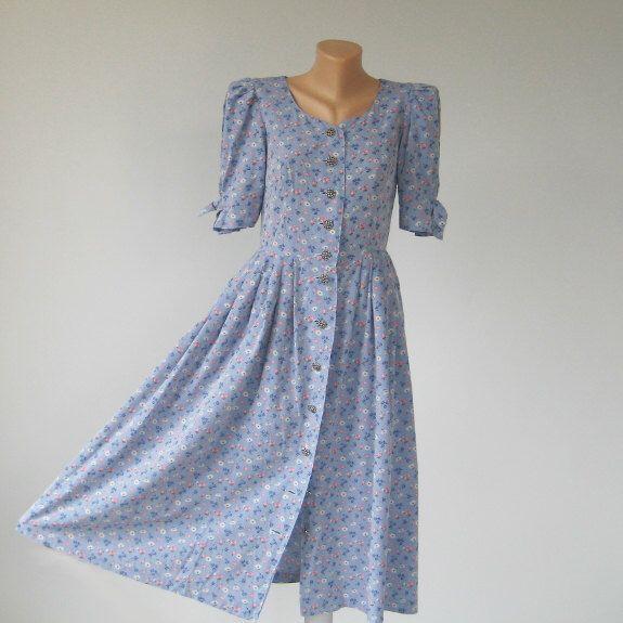 Vintage dirndl dress, ALPHORN cotton dress, Blue floral print, Women Tirol Alpen style Bavarian Folk, Woodland Summer Fest, S 6 US 8 UK by DILMA on Etsy https://www.etsy.com/listing/240055693/vintage-dirndl-dress-alphorn-cotton