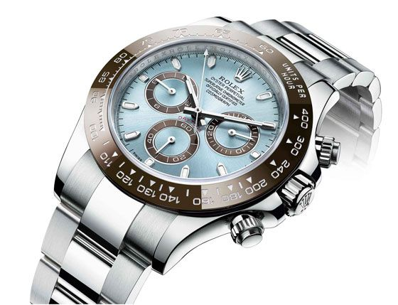 """At Baselworld 2013, Rolex unveiled a 50th anniversary edition of the Rolex Cosmograph Daytona, which gets its name from the famous racetrack. This """"prestigious edition"""" of the watch, priced at $75,000, is the first Daytona with a platinum case."""