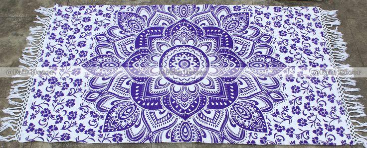 Purple Rectangular Bohemian Mandala Tapestry Beach Towel Tablecloth With Tassel