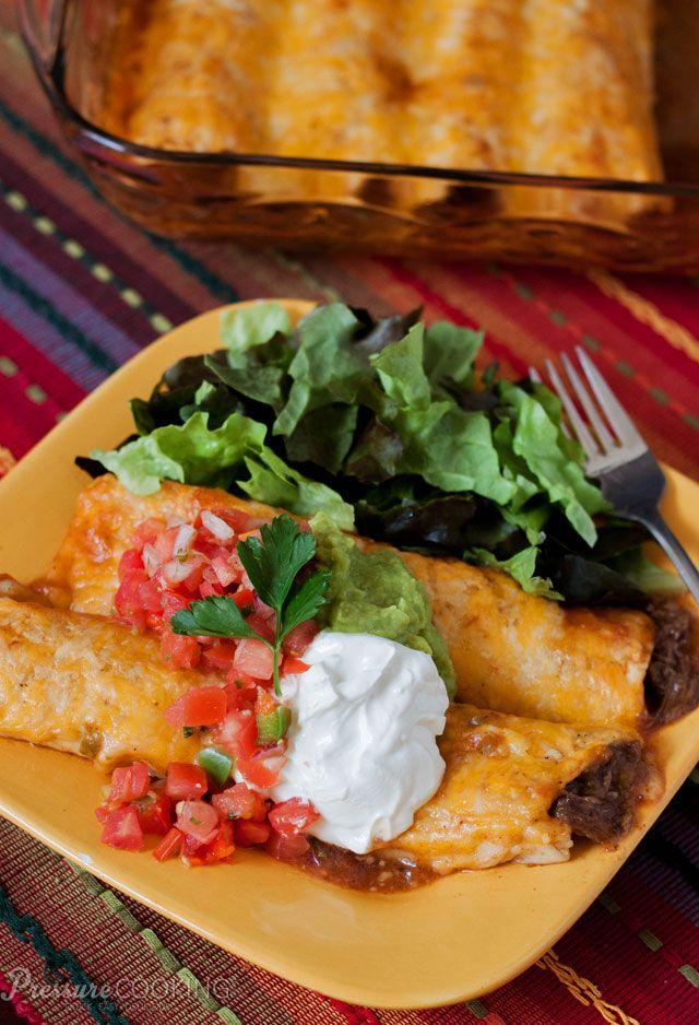 Slow cooked flavor in a fraction of the time - Pressure Cooker Shredded Beef Enchiladas