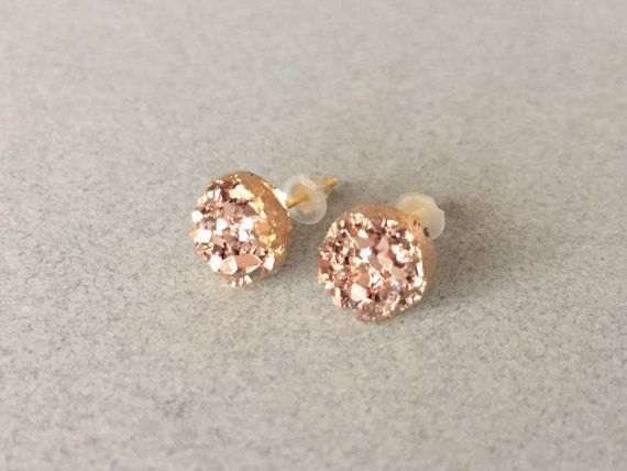 Faux Druzy 8mm Rose Gold Stud Earring Rose Gold by oneartsymomma