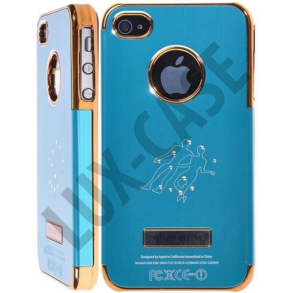 Zodiac Bling - Alu Back (Lys Blå) iPhone 4/4S Deksel