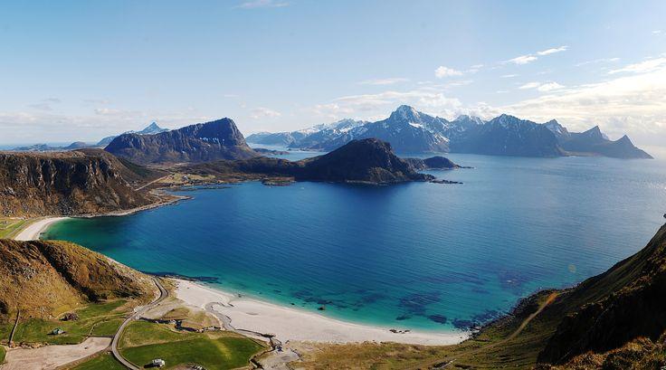 https://flic.kr/p/GfxbSE | Haukland Beach view | Lofoten islands.  Six months in Norway.  3 vertical shots.