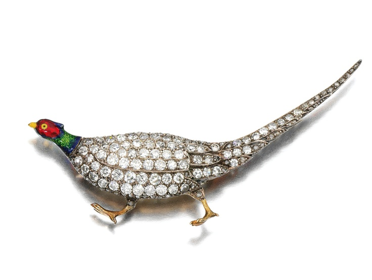 ENAMEL AND DIAMOND BROOCH, LATE 19TH CENTURY.   Designed as a strutting pheasant, the head and neck applied with polychrome enamel, the feathers set with circular-, single-cut and rose diamonds, fitted case.