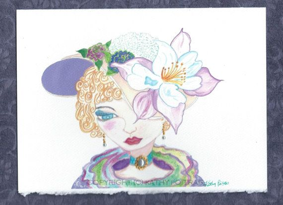Dove Flower Hat hand embellished greeting card by KathyPoitrasArt
