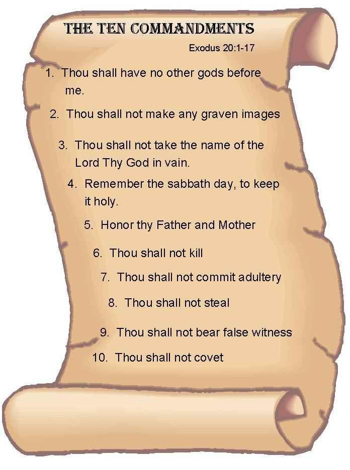 Printable Bible Ten Commandments | ... Stone vs. Graham outlawed the Ten Commandments in our public schools