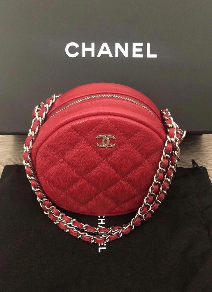 4a7b1819e740 NIB 2018 CHANEL ROUND PINK RED BAG CLUTCH W/ CHAIN O CASE WALLET WOC  Crossbody #Chanelhandbags