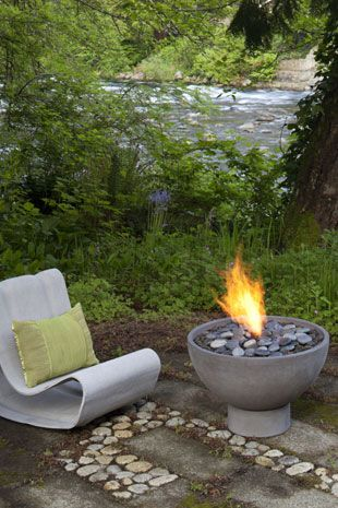 Best Fire Bowls Fire Boxes Images On Pinterest Fire Bowls - Concrete outdoor fireplace river rock fire bowl from restoration hardware