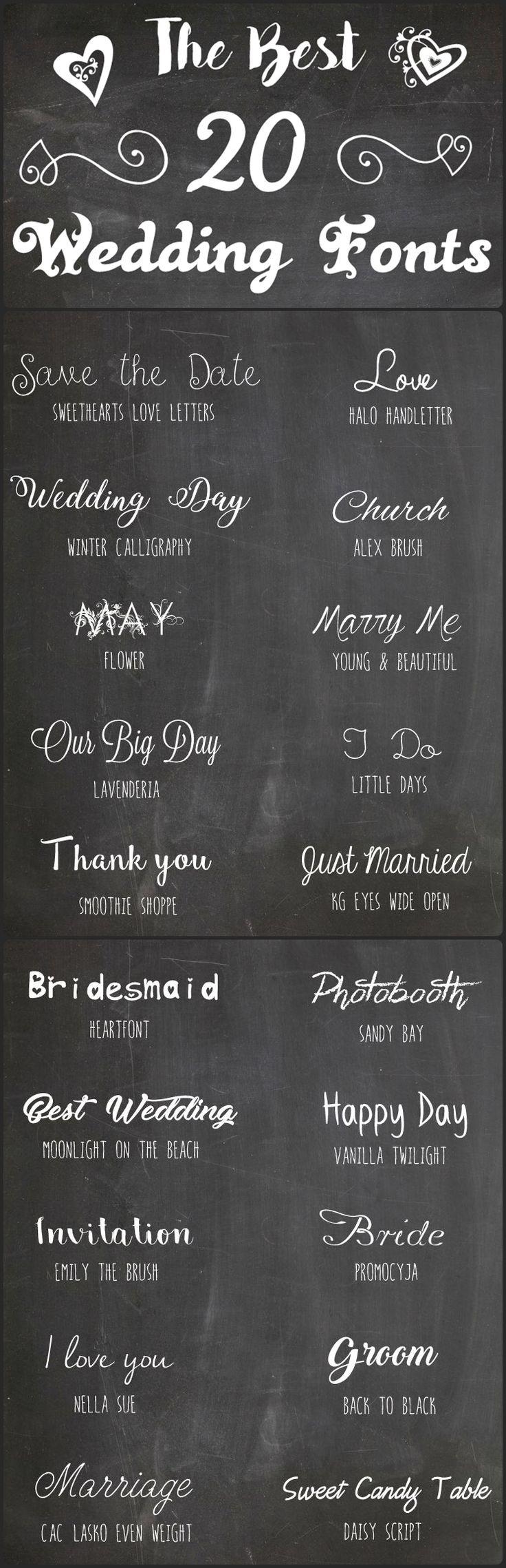 The Best 20 Wedding Fonts / Die 20 schönsten Schriftarten zur Hochzeit / http://heiratenfueranfaenger.blogspot.de/