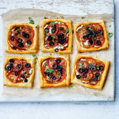 Tomato, black olive and ricotta puff tarts