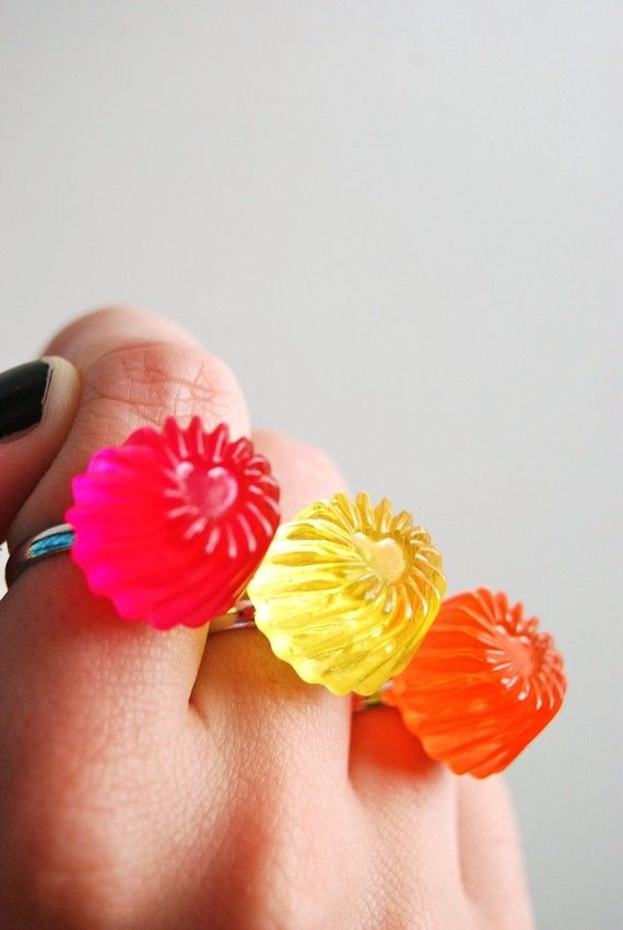jello rings: Jewelry Necklaces, Jello Rings, Happy Colors, Rings Collection, Anne Style, Jelly Rings, Pink Jello, Jello Jewelry, Amazing Jewelry