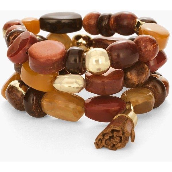 Chico's Autumn Stretch Bracelet ($39) ❤ liked on Polyvore featuring jewelry, bracelets, spice, stretch jewelry, chicos jewelry, leather bangle and leather jewelry