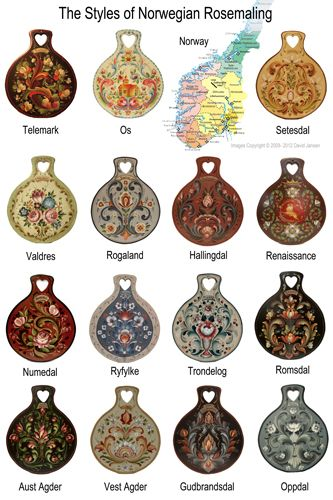 The styles of Norwegian Rosemaling.