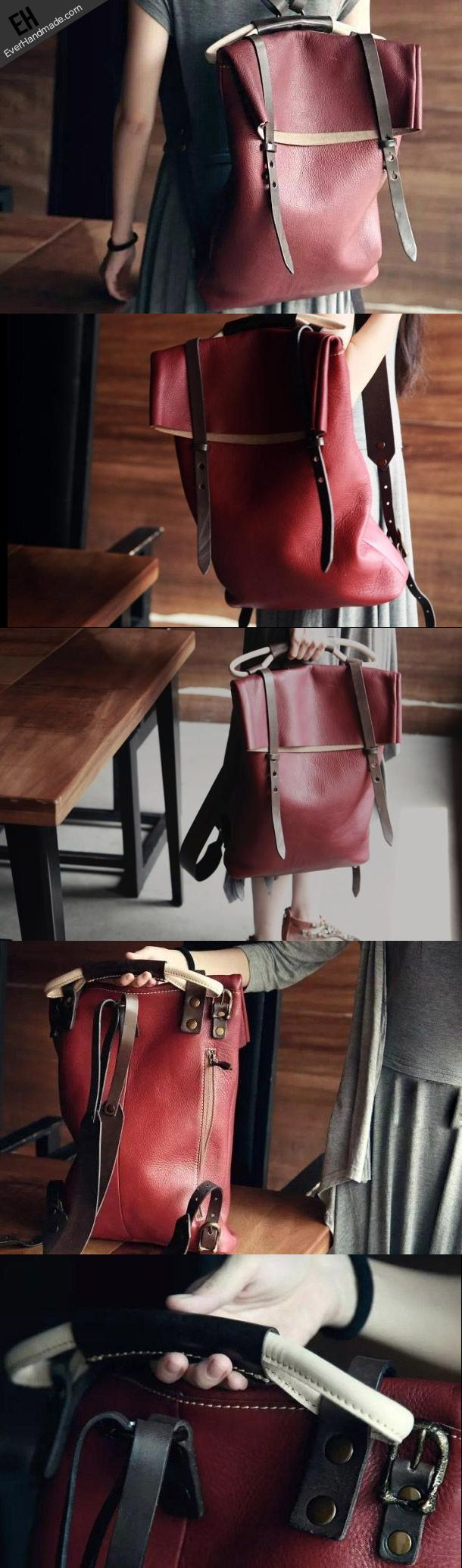 Handmade leather red backpack bags for women