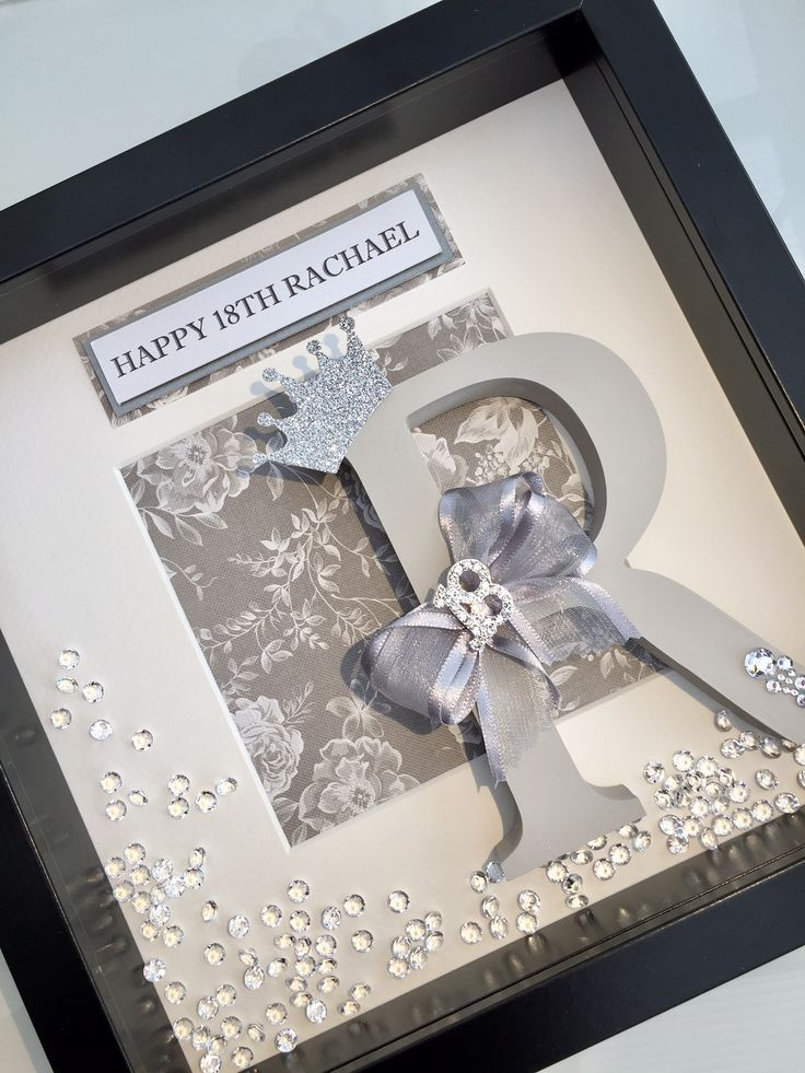 18th Birthday personalised initial box frame gift. Subtle grey tones with sparkling '18' diamante embellishment