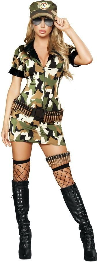 new sexy womens militia army soldier pilot camo babe military halloween costume - Halloween Army Costume