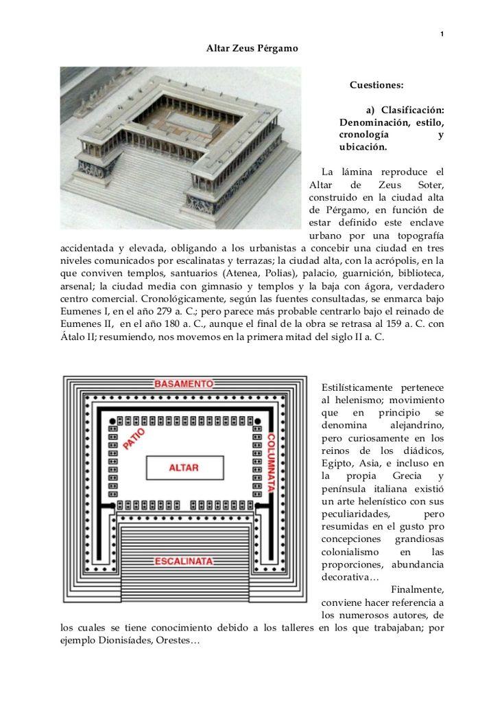 1 Altar Zeus Pérgamo Cuestiones: a) Clasificación: Denominación, estilo, cronología y ubicación. La lámina reproduce el Altar de Zeus Soter, construido en la c…