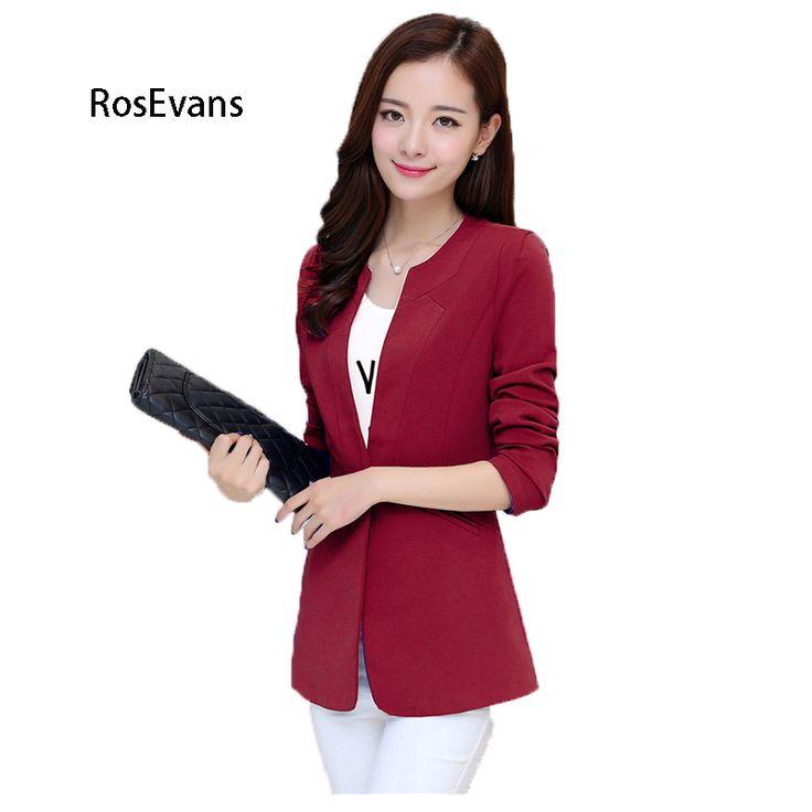RosEvans 2017 New Fashion Women Small Suit Blazer Solid Slim O-neck Short Long Sleeve OL Business Suit Blazer Jacket B225 #Affiliate