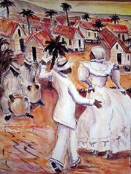 Una pintura de una danza tradicional de Puerto Rico.