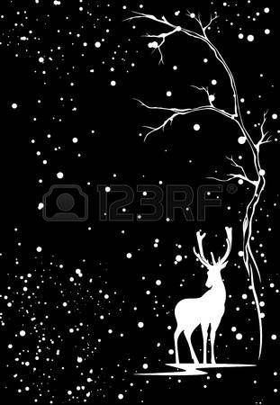 winter season vector background with white deer under snowfall against black Stock Vector