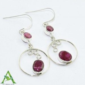 #Royal #Ruby #Gemstone 925 Sterling Silver #Earring from Akrati Jewels Inc