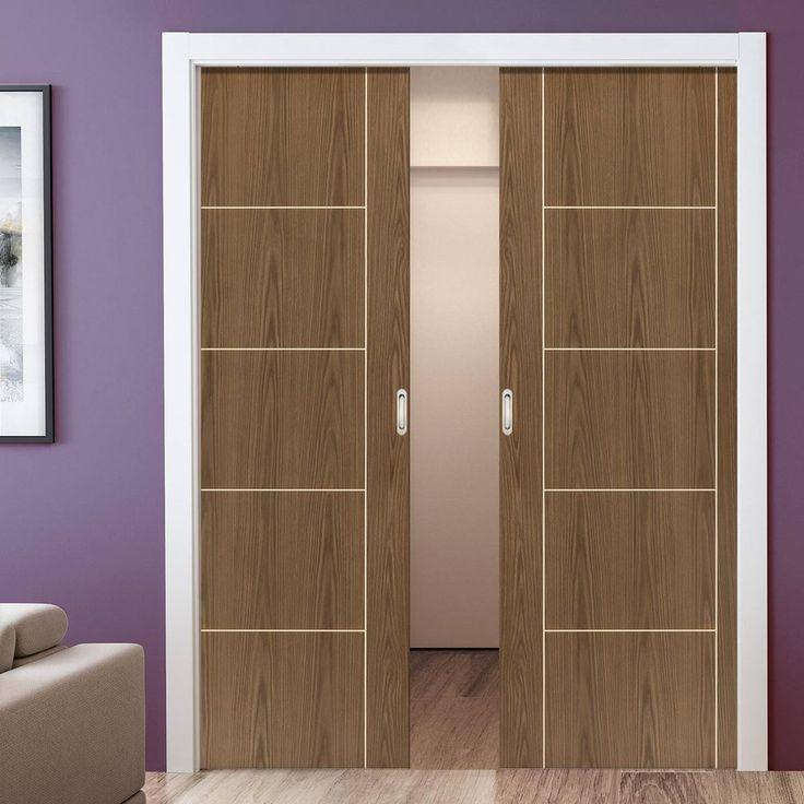 Double Pocket Eco Mocha Walnut sliding door system in three sizes. #POCKETDOORS #WALNUTDOORS #DOORS