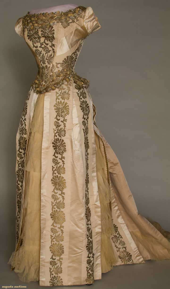 gold brocade ball gown, 1880 - 1885