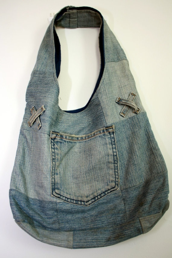 Recycled blu jean purse