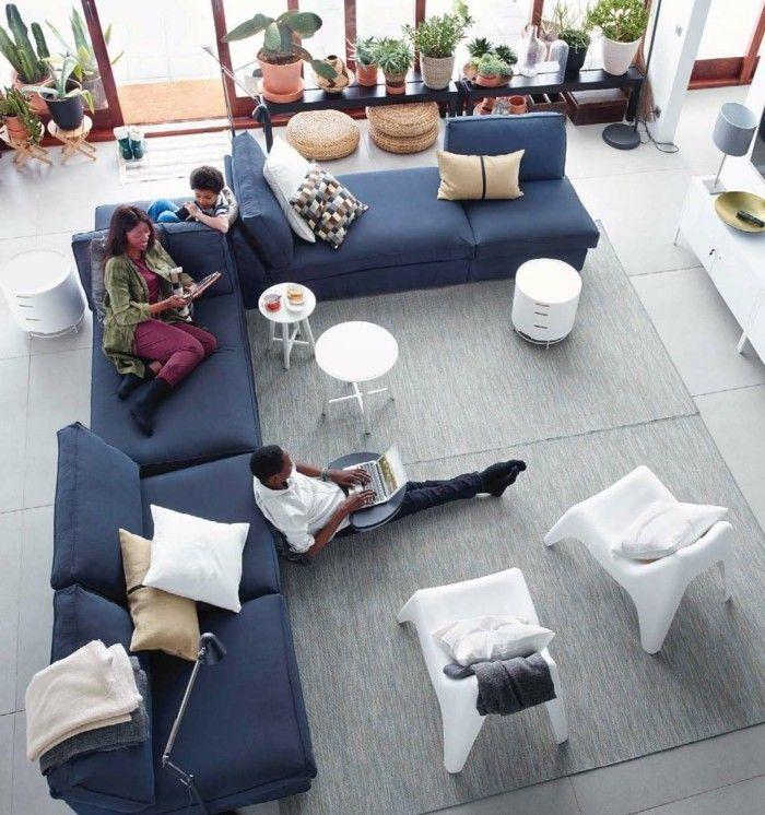 Sofa Blue Ecksoafa Light Grey Carpet Plant Dekokissen Living Room Set Up Banken Woonkamer Ikea Woonkamer Blauwe Bank