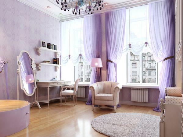 schlafzimmer einrichten schminktisch luftige gardinen helllila runder teppich