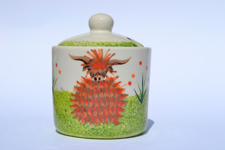 Lidded Sugar Pot - hand painted in Scotland