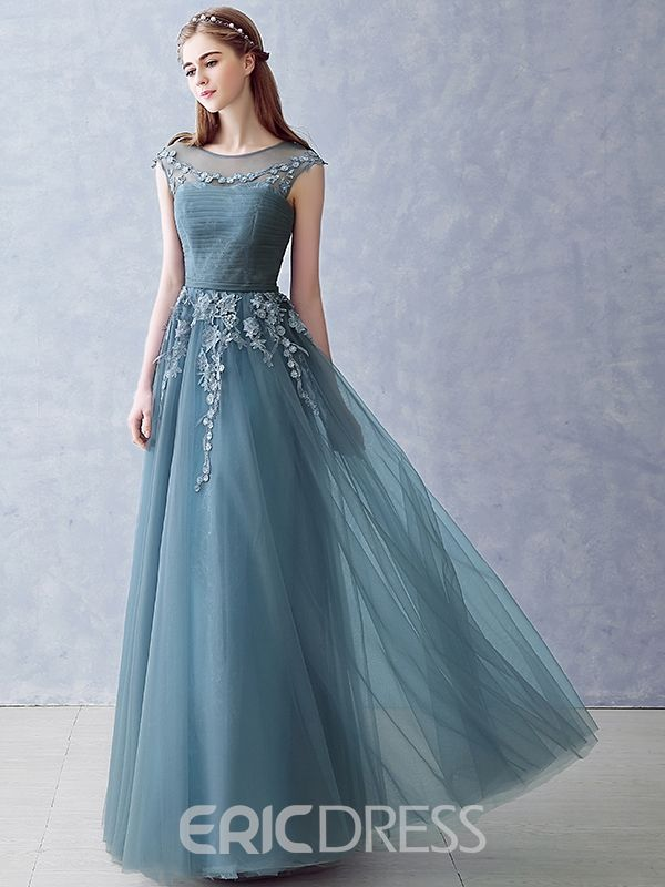 54321521e04 Ericdress A-Line Cap Sleeves Appliques Pleats Long Evening Dress In  Floor-Length