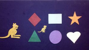 """""""baby kangaroo, where are you?"""" use for preschool storytime, targeting shape vocab, australia theme, spatial concepts, colors, etc."""