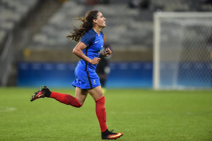 Amel Majri of France celebrates a scored goal against Colombia during a match between France and Colombia as part of Women's Football - Olympics at Mineirao Stadium on August 3, 2016 in Belo Horizonte, Brazil.