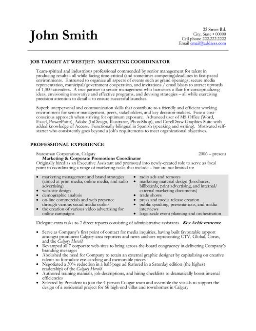 Click Here to Download this Marketing Coordinator Resume Template! http://www.resumetemplates101.com/Marketing-resume-templates/Template-41/