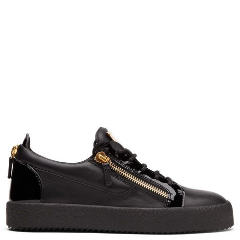 <p>Sneakers basses en cuir noir</p>