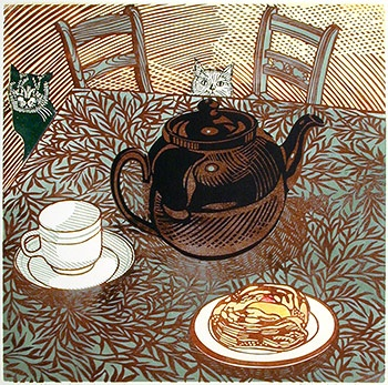 """""""Tea Time"""", linocut by Richard Bawden UK http://www.haylettsgallery.com/index.php"""
