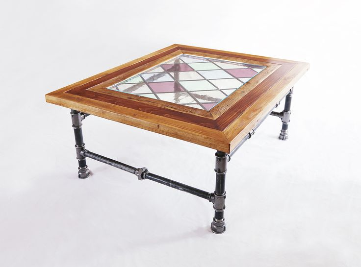 Industrial Coffee Table - stained glass #table #coffee #stolik #stainled #glass #pipe #legs